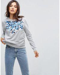 B.Young Gray Printed Sweatshirt