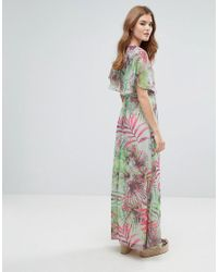 Lavand Green Kimono Sleeve Maxi Dress In Palm Print