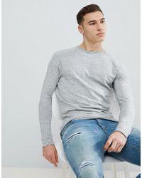 Bershka Lightweight Knitted Sweater In Light Gray for men
