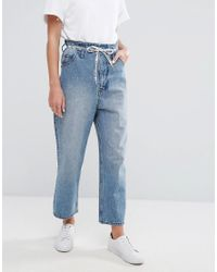 Cheap Monday Blue High Rise Wide Leg Crop Jean With Lace Up Paperbag Waist