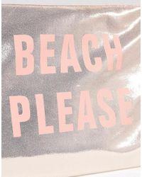 South Beach Beach Please Pink Metallic Pouch