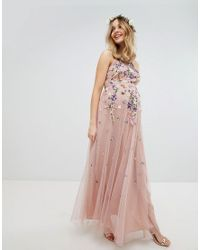 de6c350d2c1c ASOS - Pink Asos Design Maternity Floral Embroidered Dobby Mesh Cami Strap Maxi  Dress - Lyst