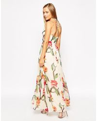 ASOS Multicolor Asos Halter Maxi Dress With Cut Out Sides In Love Bird Print