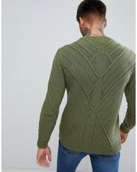Bershka Cable Knit Sweater In Olive Green for men