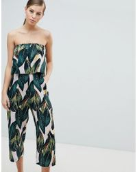 fcb7984f8d202e AX Paris Frill Overlay Palm Leaf Jumpsuit in Pink - Lyst