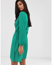 Love Green Long Sleeve Wrap Dress