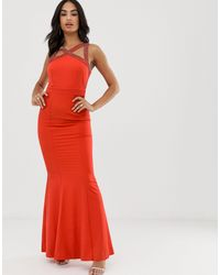 Платье Макси С Вышивкой Бисером -оранжевый Цвет Little Mistress, цвет: Red