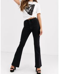 Object Black High Waisted Flared Jeans