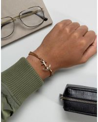 Icon Brand - Brown Anchor Leather Bracelet In Tan - Lyst