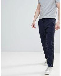 HUGO Blue Taped Leg Drawstring Trousers In Navy for men
