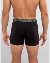 River Island Black Trunks With Metallic Band Detail 5 Pack for men