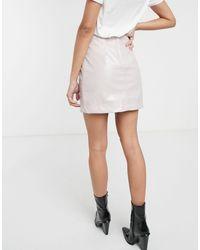 Светло-бежевая Лакированная Мини-юбка -бежевый Monki, цвет: White