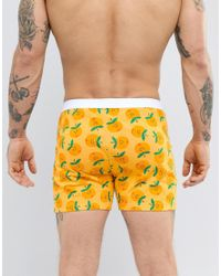 ASOS Orange Jersey Boxers With Cheeky Peach Print for men