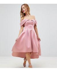 e982ad10c Robe de bal de promo mi-longue avec paules nues style Bardot et dos  plongeant femme de coloris rose