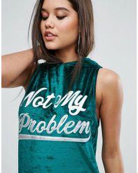 ASOS - Green Sleeveless Velvet Hoodie Mini Dress With Varsity Print - Lyst