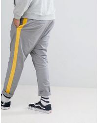 ASOS Gray Plus Tapered Trousers for men
