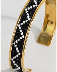 ASOS - Metallic Design Embellished Bead Cuff Bracelet - Lyst