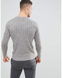 Ted Baker - Gray Crew Neck Jumper With Print for Men - Lyst