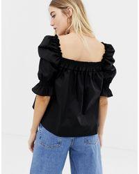 Haut à manches longues en coton avec encolure carrée ASOS en coloris Black
