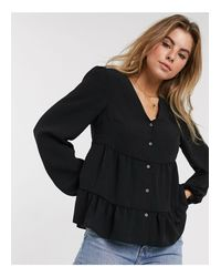 New Look Black Tiered Button Through Blouse