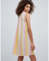 Traffic People Multicolor High Neck Striped Shift Dress