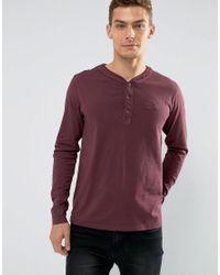 Tokyo Laundry Red Grandad Collar Long Sleeve Top for men