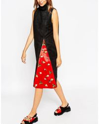 ASOS - Blue A V Robertson For Funnel Neck Dress With Embellished Insert - Lyst