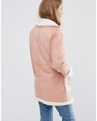 ASOS Pink Vintage Style Faux Shearling Coat