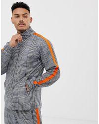 Liquor N Poker Gray Funnel Neck Tracksuit Jacket With Side Stripe for men