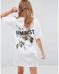 ASOS White Feminist Floral Print T-shirt Dress