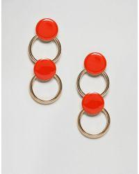 ASOS - Orange Disc & Hoop Link Earrings - Lyst