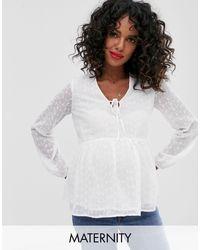 New Look White Peplum Long Sleeve Blouse