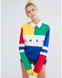 443fbb2dfe8 Lazy Oaf Oversized Rugby Shirt With Colour Blocks - Multi in Blue - Lyst