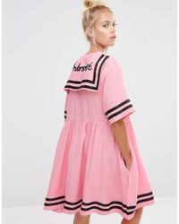 Lazy Oaf - Pink Sailor Dress With Introvert Embroidery - Lyst