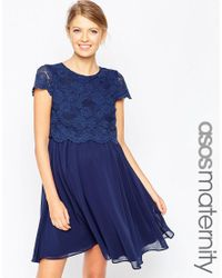 ASOS | Blue Skater Dress With Lace Crop Top | Lyst