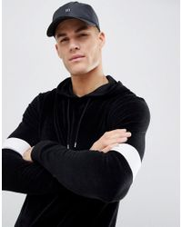 ASOS - Asos Muscle Hoodie In Black Velour With Colour Blocking for Men - Lyst