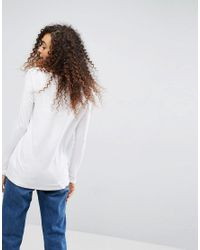 ASOS - Top With Batwing Long Sleeve In White - Lyst
