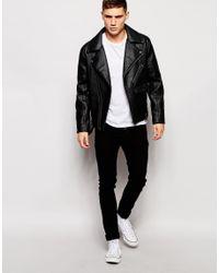 Barneys Originals - Black Barneys Faux Leather Ribbed Biker Jacket for Men - Lyst
