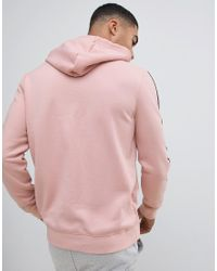 River Island Pink Hoodie With Sleeve Taping for men