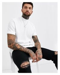 T-shirt comoda accollata testurizzata bianca di ASOS in White da Uomo