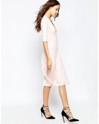ASOS - Blue Midi Dress With Extreme Plunge - Lyst