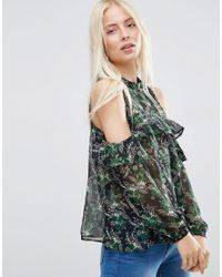 ASOS - Green Cold Shoulder Ruffle Top In Floral Print - Lyst