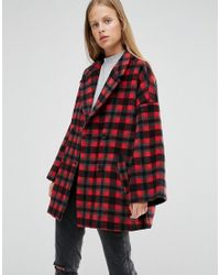 Ganni Double Breasted Coat In Red Check in Red | Lyst