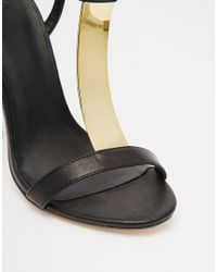 edd831a99932 Lyst - ASOS Hashtag Wide Fit Heeled Sandals in Metallic