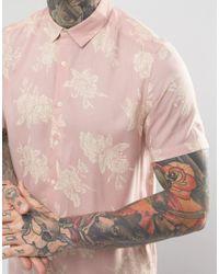 ASOS Regular Fit Viscose Floral Print Shirt In Pink for men