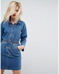 ASOS - Denim Shirt Dress In Midwash Blue With Elastic Waist - Lyst