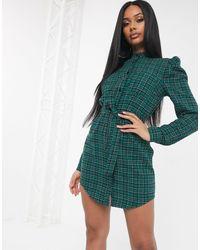Платье-рубашка С Поясом И Пышными Рукавами -мульти Missguided, цвет: Green