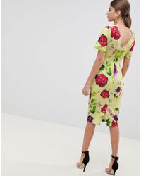 ASOS Multicolor Yellow Floral Midi wiggle Dress