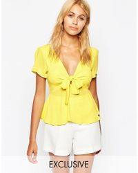 Love - Yellow Bow Front Top - Lyst