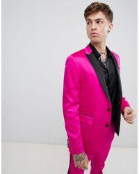 Chaqueta de esmoquin ajustada en rosa ultrabrillante de ASOS de hombre de color Pink
